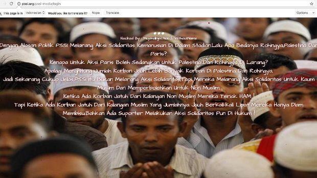 Dua laman di situs PSSI tidak dapat diakses pada Kamis (14/9) sore.