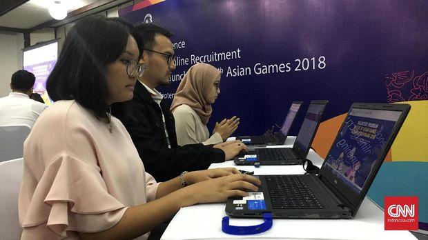 Pendaftaran relawan uji coba Asian Games dan ajang resmi Asian Games dibedakan ke dalam dua kelompok.
