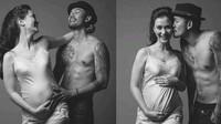 Atiqah Hasiholan bersama sang suami, Rio Dewanto melakukan sesi pemotretan kehamilan. Saat itu usia kehamilannya baru enam bulan. Dok. Instagram/riodewanto