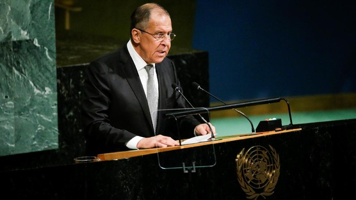 Russian Foreign Minister Sergey Lavrov addresses the 72nd United Nations General Assembly at the U.N. headquarters in New York, U.S., September 21, 2017. REUTERS/Eduardo Munoz
