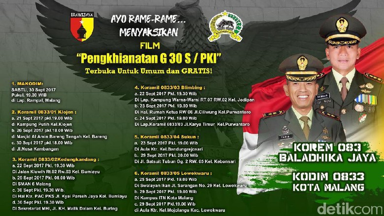 Ini Jadwal Pemutaran Film G30S/PKI di Malang
