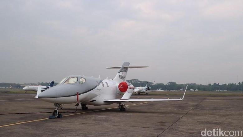 Hondajet mendarat di Bandara Halim Perdanakusuma Foto: Dina Rayanti