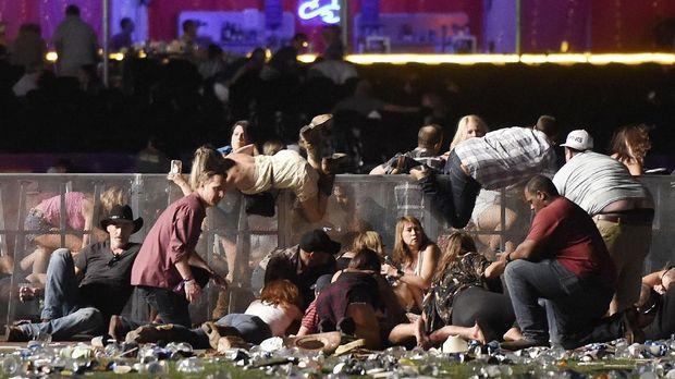 Suasana saat penembakan di Las Vegas.