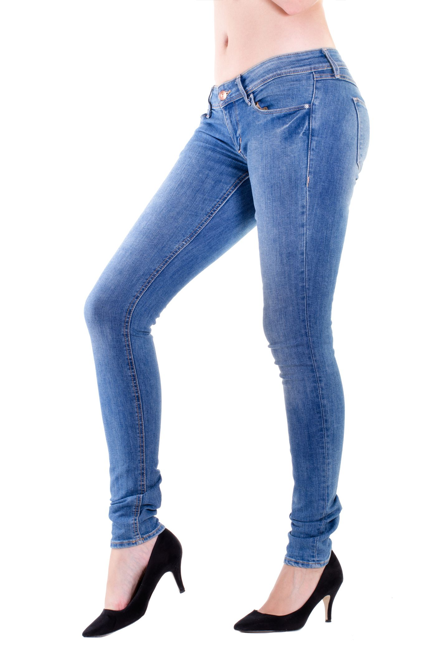 Woman legs in jeans with white background