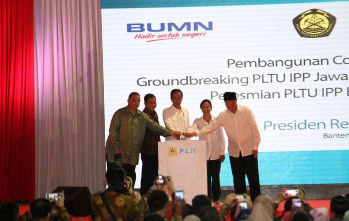 Presiden Jokowi meresmikan PLTU IPP Banten serta groundbreaking PLTU Jawa 7, PLTU Jawa 9, dan PLTU Jawa 10.