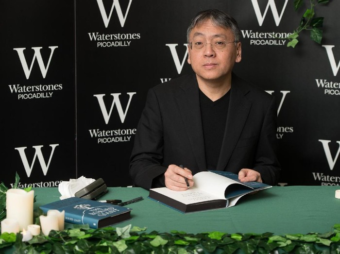 LONDON, ENGLAND - MARCH 02:  Kazuo Ishiguro meets fans and signs copies of his new novel The Buried Giant at Waterstones, Piccadilly on March 2, 2015 in London, England.  (Photo by Ian Gavan/Getty Images)