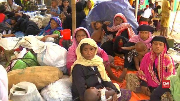 Pengungsi Rohingya di kamp penampungan.
