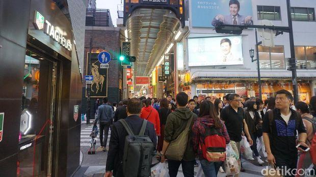 Kawasan Shinsaibashi di Osaka (Wahyu/detikTravel)
