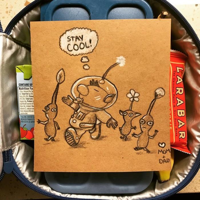 Saat ia masih sekolah, ibunya selalu menyelipkan kertas berisi pesan di kotak makannya. Tradisi itu ingin ia lanjutkan pada anak-anaknya. Seperti membuat gambar alien ini.