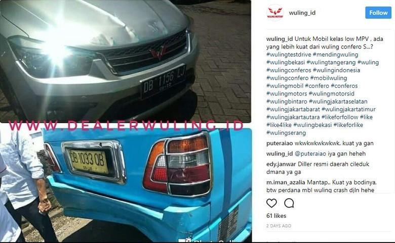 Mobil Wuling Tabrak Angkot Tak Penyok? (Foto: Screenshot Instagram)