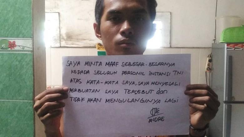 Lewat Medsos, Andre yang Dijambak Prajurit Minta Maaf ke TNI