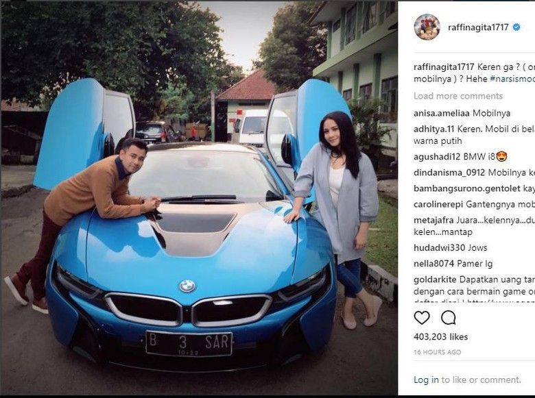 Pelat Mobil B 3 SAR di Mobil BMW i8 Raffi Ahmad Hanya Tempelan