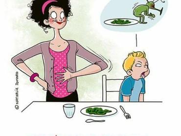 Jangan sedih, Bun. Udah mencontohkan kebiasaan makan sayur ke anak, tapi ekspresi yang kita terima kayak gini. He-he-he. (Foto: Facebook/ Nathalie Jomard)