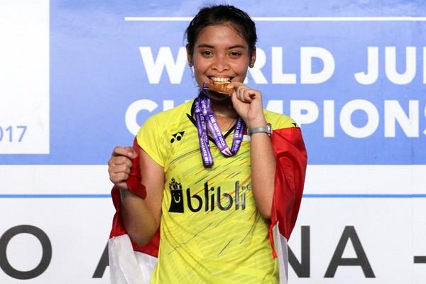Gregoria memenangkan BWF World Junior Championship atau Kejuaraan Dunia Bulutangkis Junior di Yogyakarta. Ia mengalahkan pemain China, Han Yue, pada pertandingan final di GOR Among Rogo (Tim Humas Dan Social Media PP PBSI)