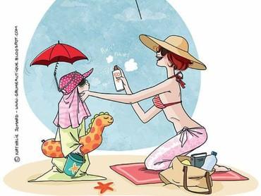 Berbagai cara dilakukan Bunda untuk melindungi si kecil yang akan main panas-panasan. (Foto: Facebook/ Nathalie Jomard)
