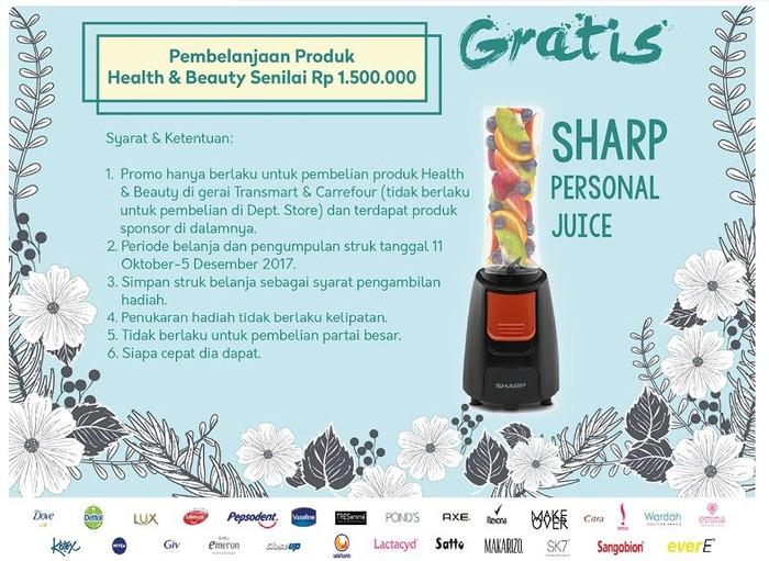 Foto: Beli Kosmetik Gratis Personal Juice di Transmart Carrefour (Dok. Transmart Carrefour)