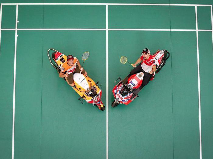 Marc Marquez dan Jorge Lorenzo beradu hebat di lapangan bulutangkis (Instagram @motogp)