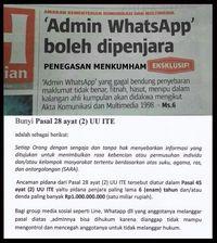 Admin Whatsapp Boleh Dipenjara ?