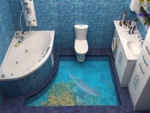 Lukisan 3D yang Bikin Betah di Kamar Mandi
