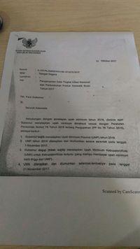 Surat Menaker soal UMP 2018