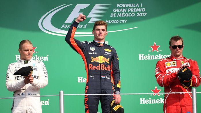Max Vertsppen, Valtteri Bottas, dan Kimi Raikkonen di podium GP Meksiko (Edgard Garrido/Reuters)