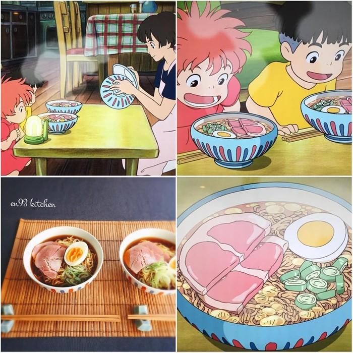 Dalam film animasi komedi Ponyo nampak adegan dua tokohnya menikmati ramen ham. en93kitchen pun benar-benar membuat ramen dengan topping ham, telur rebus dan daun bawang. Mangkuk dan sumpitnya juga mirip lho! Foto: en93kitchen