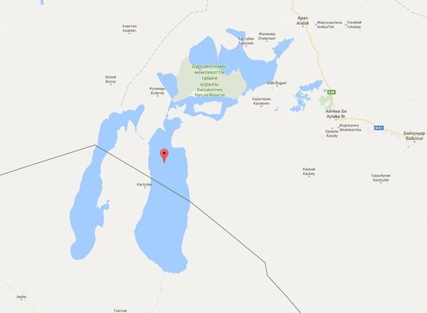 Vozrozhdeniya adalah pulau yang terletak di tengah Laut Aral. (Google Maps)