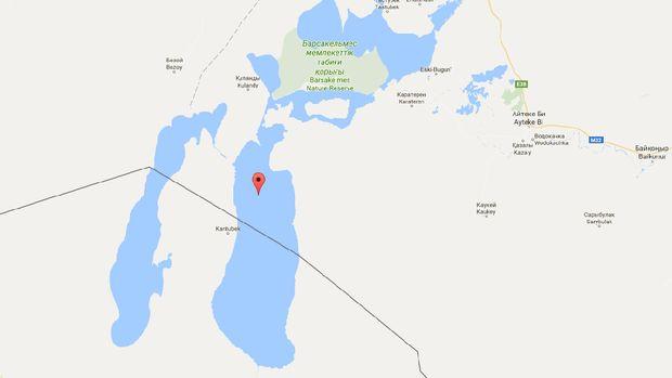 Pulau Vozrozhdeniya di Laut Aral, bagian atas (dipisahkan garis hitam) adalah Kazakhstan dan bawahnya Uzbekistan (Google Maps)