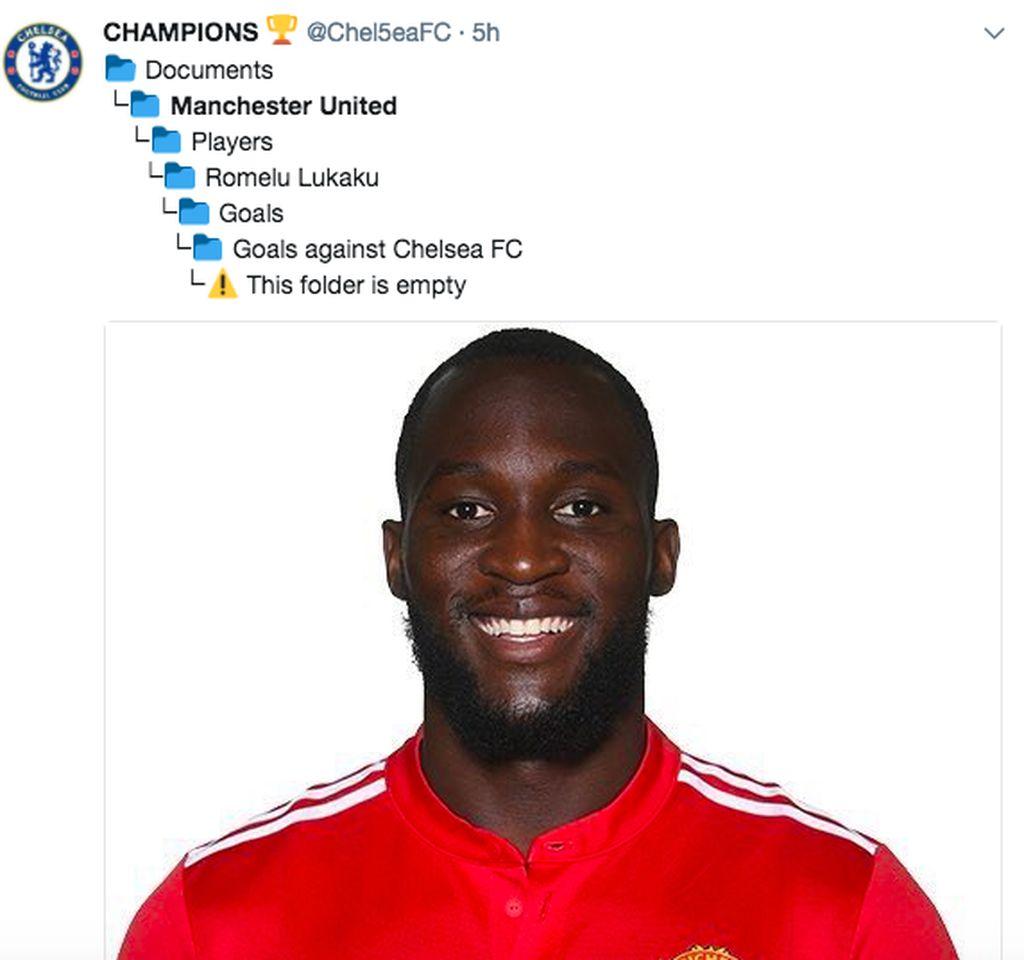 Folder gol Lukaku melawan Chelsea masih kosong. Foto: istimewa