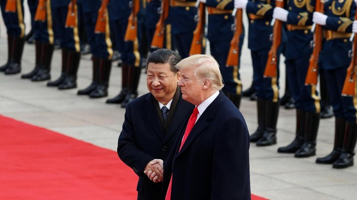 U.S. President Donald Trump takes part in a welcoming ceremony with Chinas President Xi Jinping in Beijing, China, November 9, 2017. REUTERS/Damir Sagolj