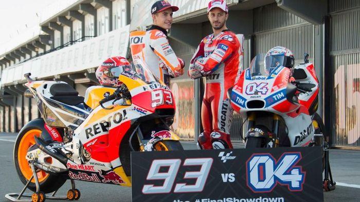 Marc Marquez dan Andrea Dovizioso di MotoGP 2017 (Foto: Mirco Lazzari gp/Getty Images)