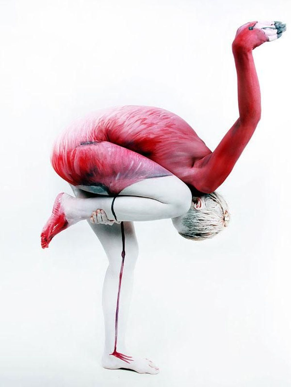 Satu orang manusia bisa menyerupai wujud burung Flamingo. Foto: internet