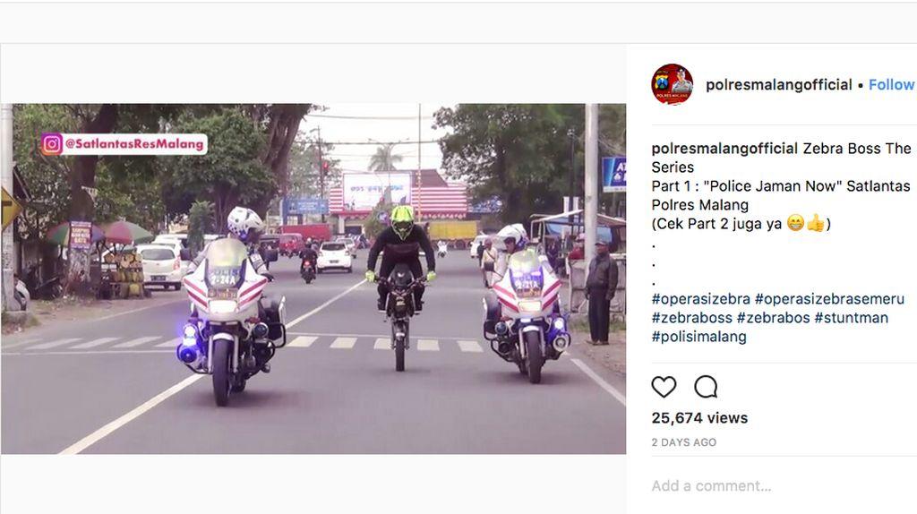 Polisi Zaman Now, Kejar Pemotor Nakal Pakai Motor Cilik