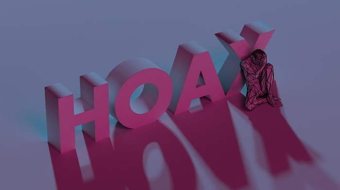 Red Hoax sign text, near sad defeated man, low poly 3d render illustration