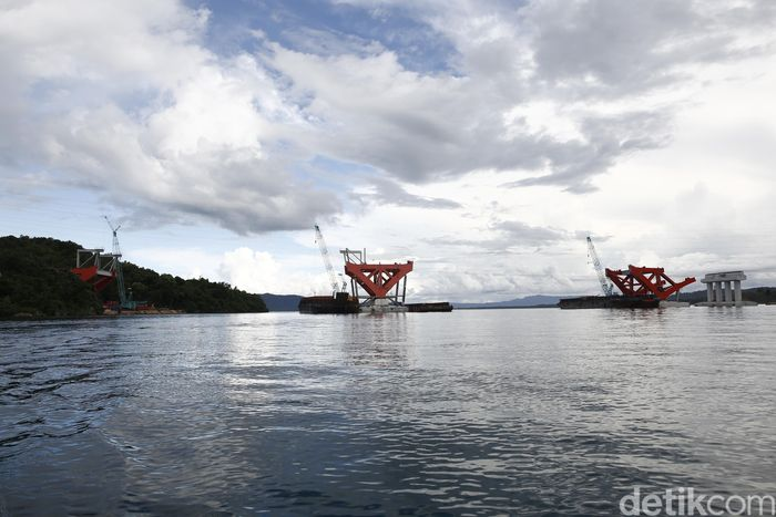 Begini potret penampakan terkini proyek pembangunan Jembatan Holtekamp di Kabupaten Jayapura, Papua.