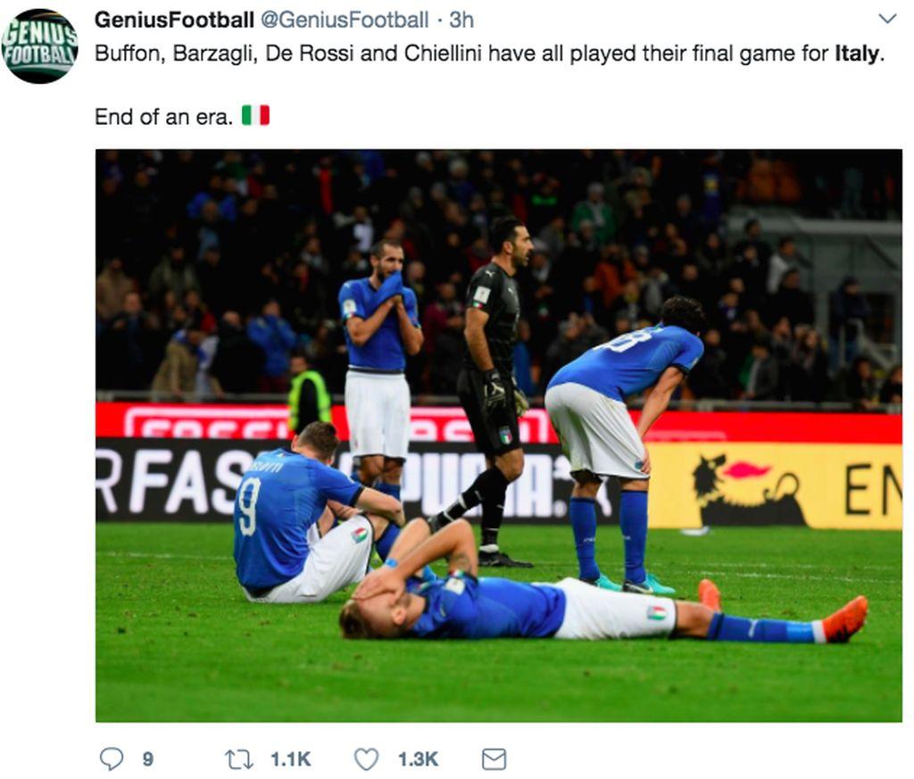 Italia tidak mampu menjebol gawang Swedia setelah dikalahkan 1-0 dalam pertandingan sebelumnya. Terkubur sudah impian Italia berlaga di Rusia tahun depan. Foto: istimewa