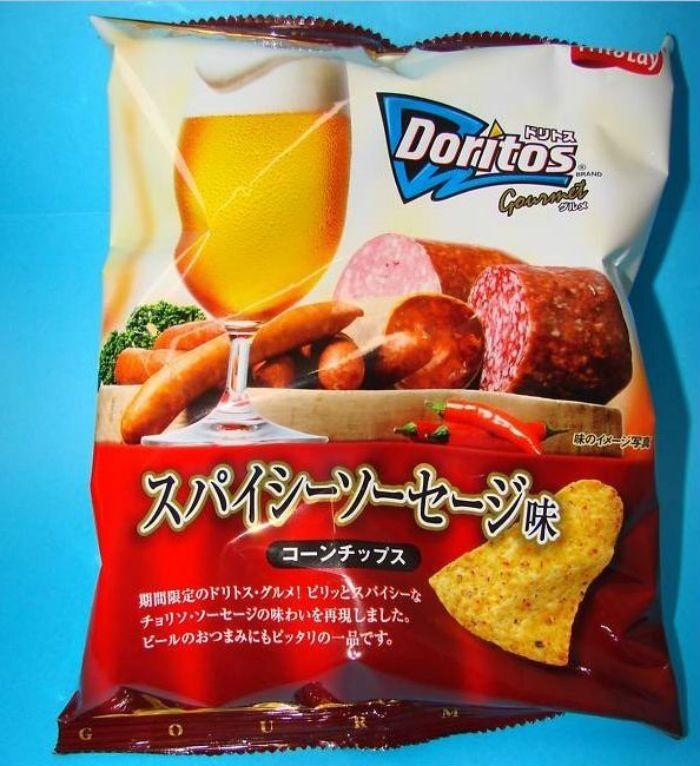 Doritos ini memiliki rasa unik yaitu perpaduan antara sosis dan bir. Rasanya renyah dengan semburat rasa bir yang unik! Foto: Istimewa