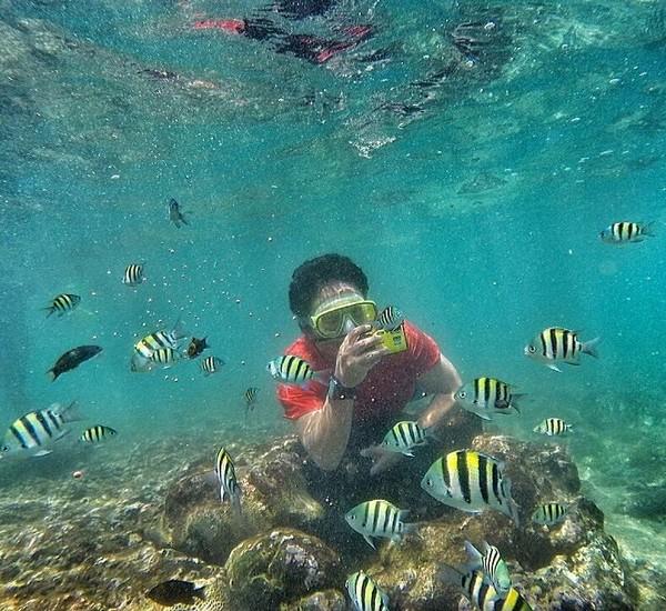 Is juga pernah snorkeling. Ia terlihat menikmati alam bawah laut sambil berpegangan ke batu karang sambil memotret. Lagi, lokasi snorkelingnya ini tak ia sematkan (Dok. pusakata/Instagram)