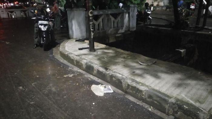 Foto: TKP kecelakaan Novanto. (Aditya Fajar/detikcom).