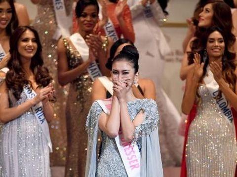 Kevin Lilliana saat diumumkan sebagai pemenang Miss International 2017 di Tokyo, Jepang, 14 November lalu.