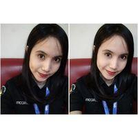 Selfi sebelum dan setelah menggunakan fitur beautify