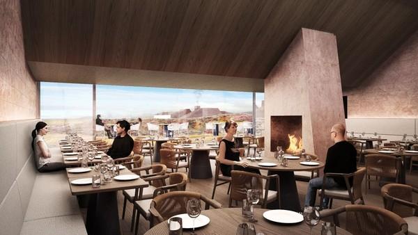 Resor ini akan dibangun di daerah terjal di semenanjung Snæfellness. Traveler akan dimanjakan dengan pemandangan juga fasilitasnya (Ikonoform/CNN Travel)
