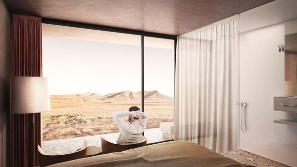 Nantinya resor ini memiliki jendela kaca lebar yang menampilkan pemandangan langit, atap berumput, dan eksterior beton merah yang menyatu dengan kawasan vulkanik itu. Sehingga terlihat menyatu dengan alam sekitar (Johannes Torpe Studios/CNN Travel)