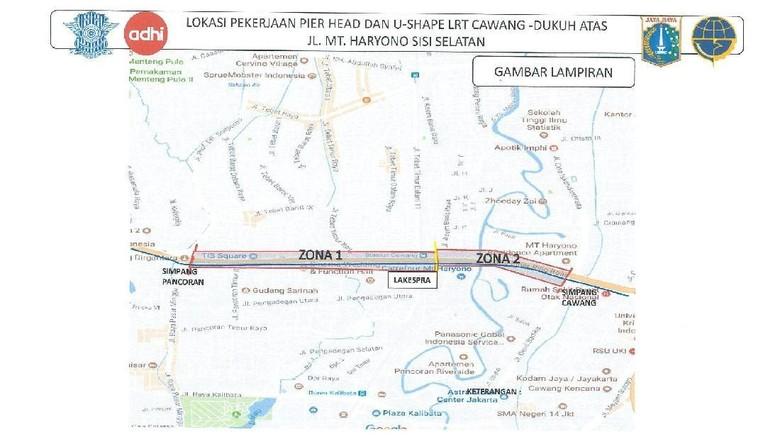 Ada Pengerjaan Proyek LRT Cawang-Dukuh Atas, Arus Lalin Dialihkan