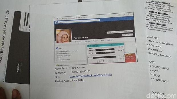Akun FB yang digunakan Hazbullah untuk menyebarkan kebencian dan fitnah