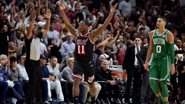 Rentetan kemenangan Boston Celtics terhenti di markas Miami Heat (Foto: Steve Mitchell-USA TODAY Sports)