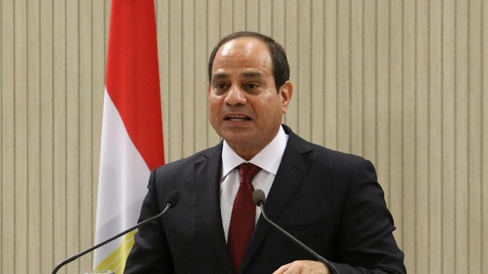Egyptian President Abdel Fattah al-Sisi speaks during a news conference at the Presidential Palace in Nicosia, Cyprus November 20, 2017. REUTERS/Yiannis Kourtoglou