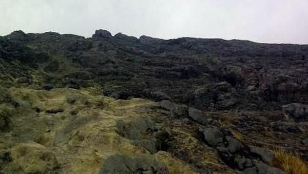 Foto: Jalur untuk mendaki gunung ini bisa dibilang cukup terjal. Penuh dengan batu-batu besar. (Albertus Widiantoro/dTraveler)