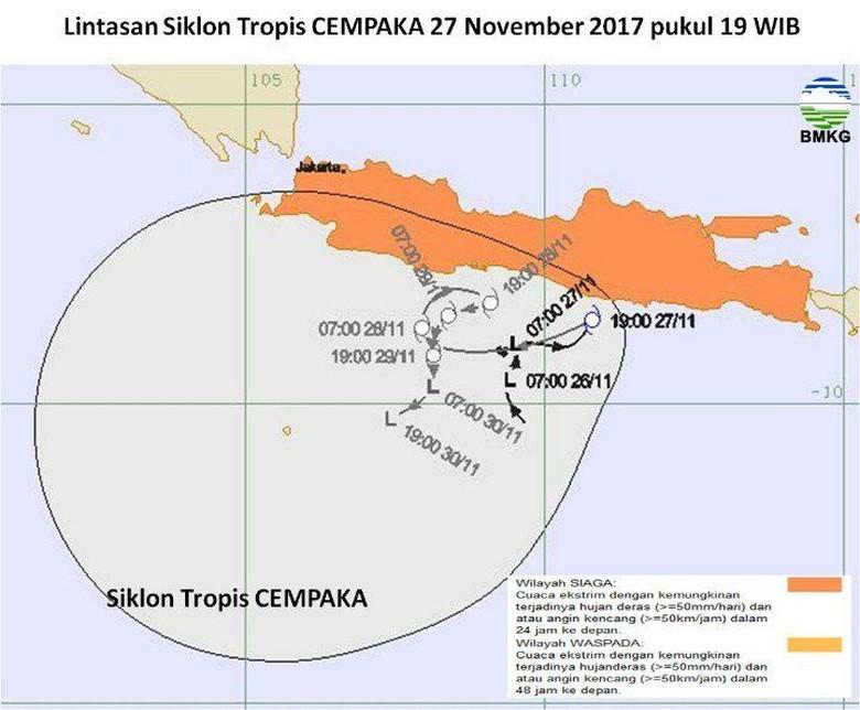 Ada Siklon Cempaka, BMKG: Waspadai Cuaca Ekstrem 3 Hari ke Depan