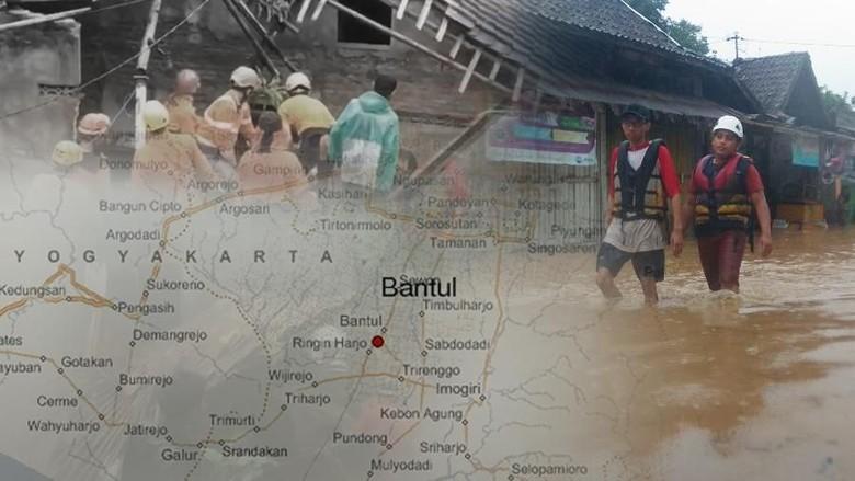 Terkepung Banjir, Ratusan Warga Kretek Bantul Belum Mau Dievakuasi